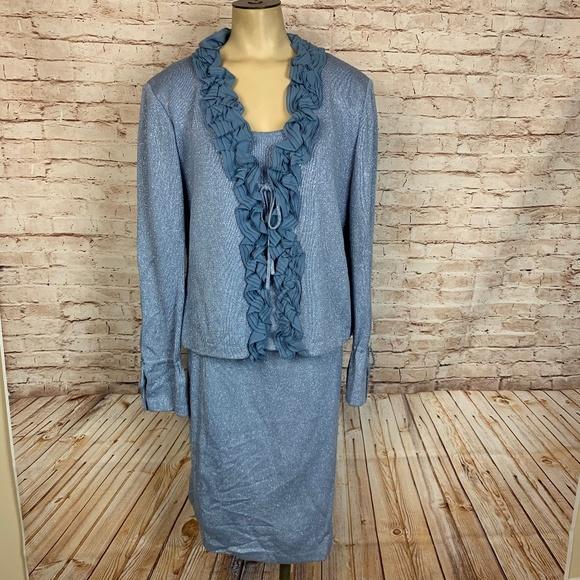 St. John Skirt Suit Blue Metallic Santana Knit